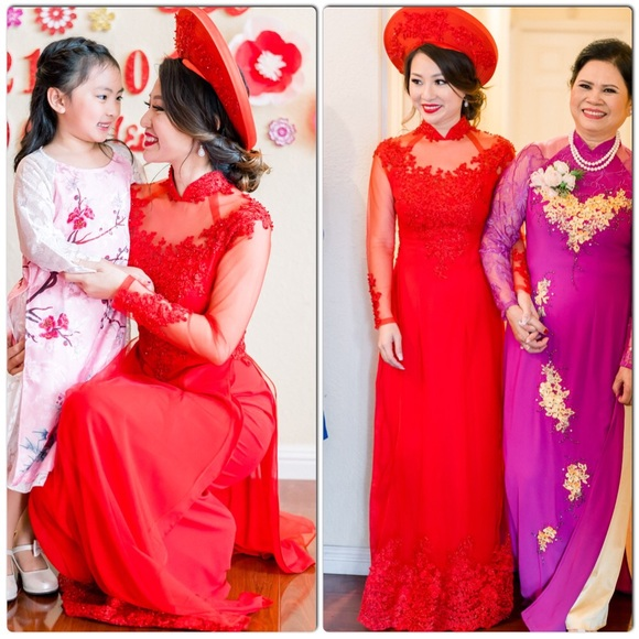 Vietnamese Wedding Gown: Vietnamese Red Ao Dai Wedding Dress Hat